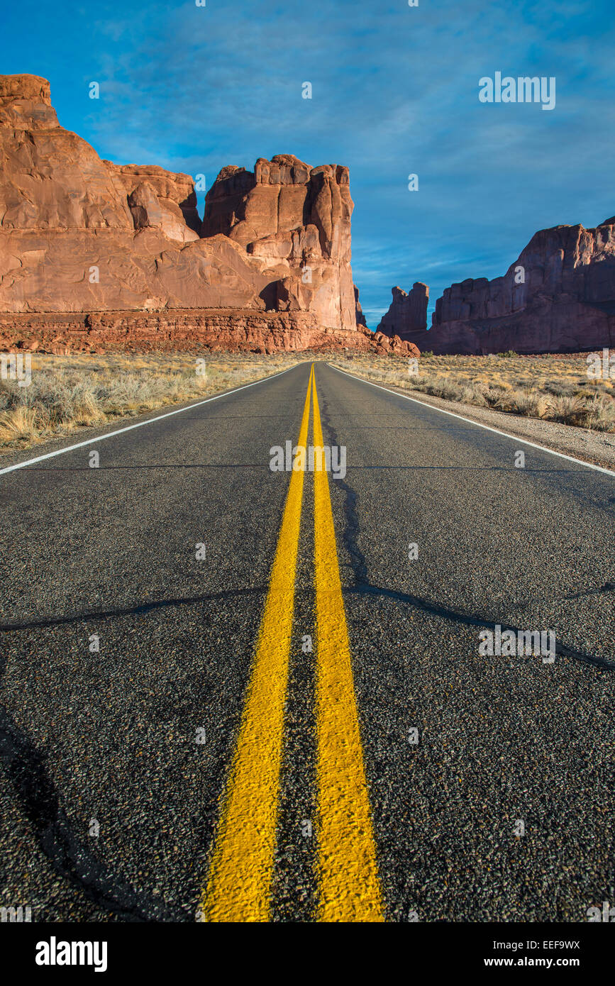 Scenic desert road, Arches National Park, Utah, USA Stock Photo