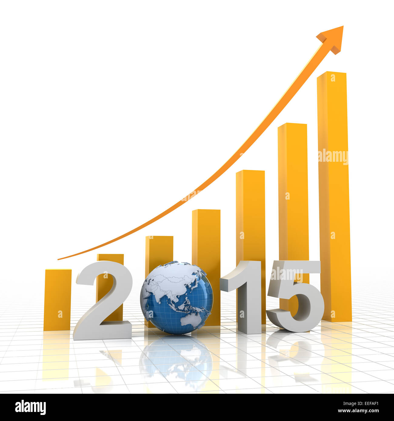 2015 global growth, 3d render - Stock Image