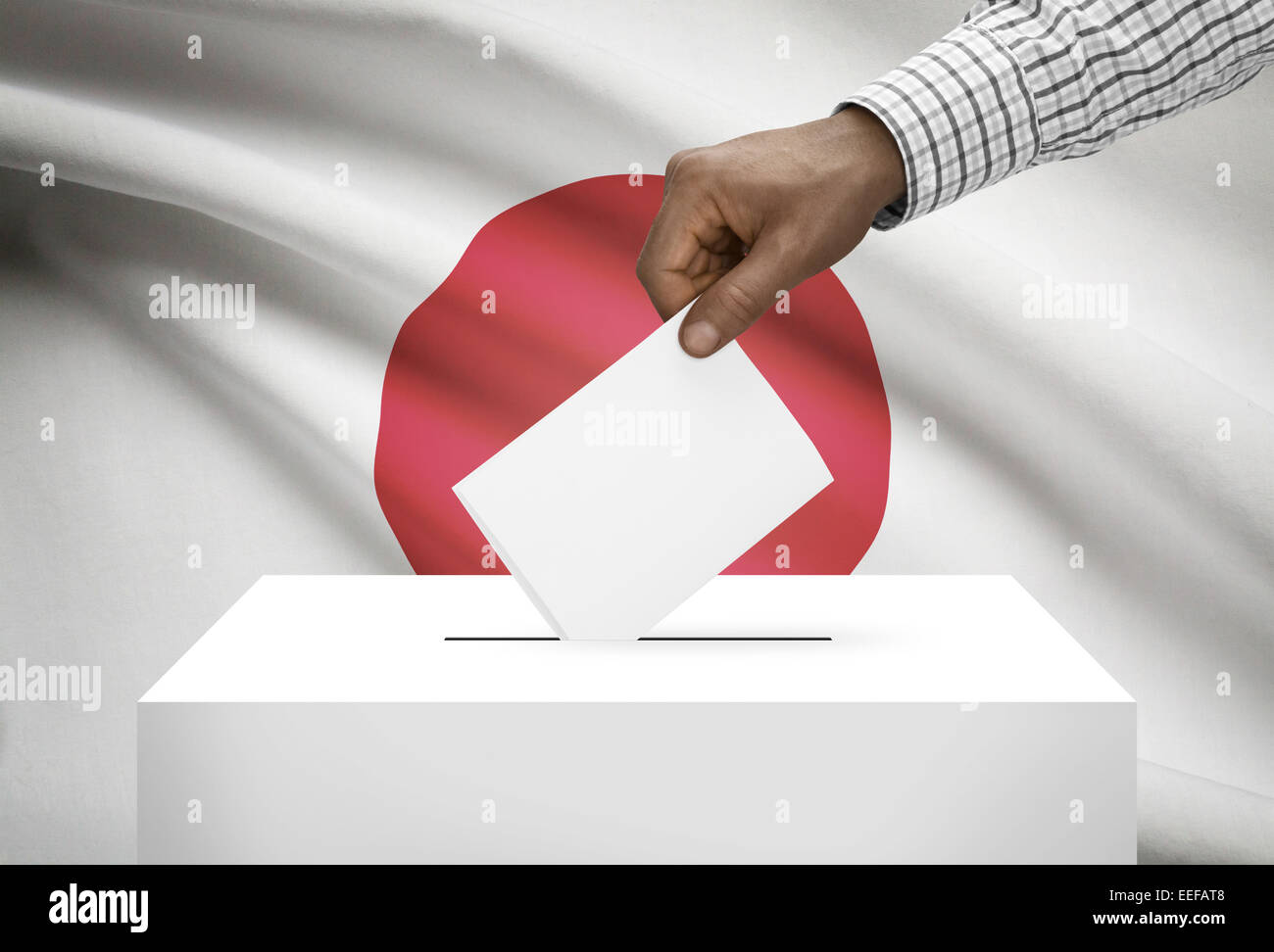Ballot box with national flag on background - Japan Stock Photo