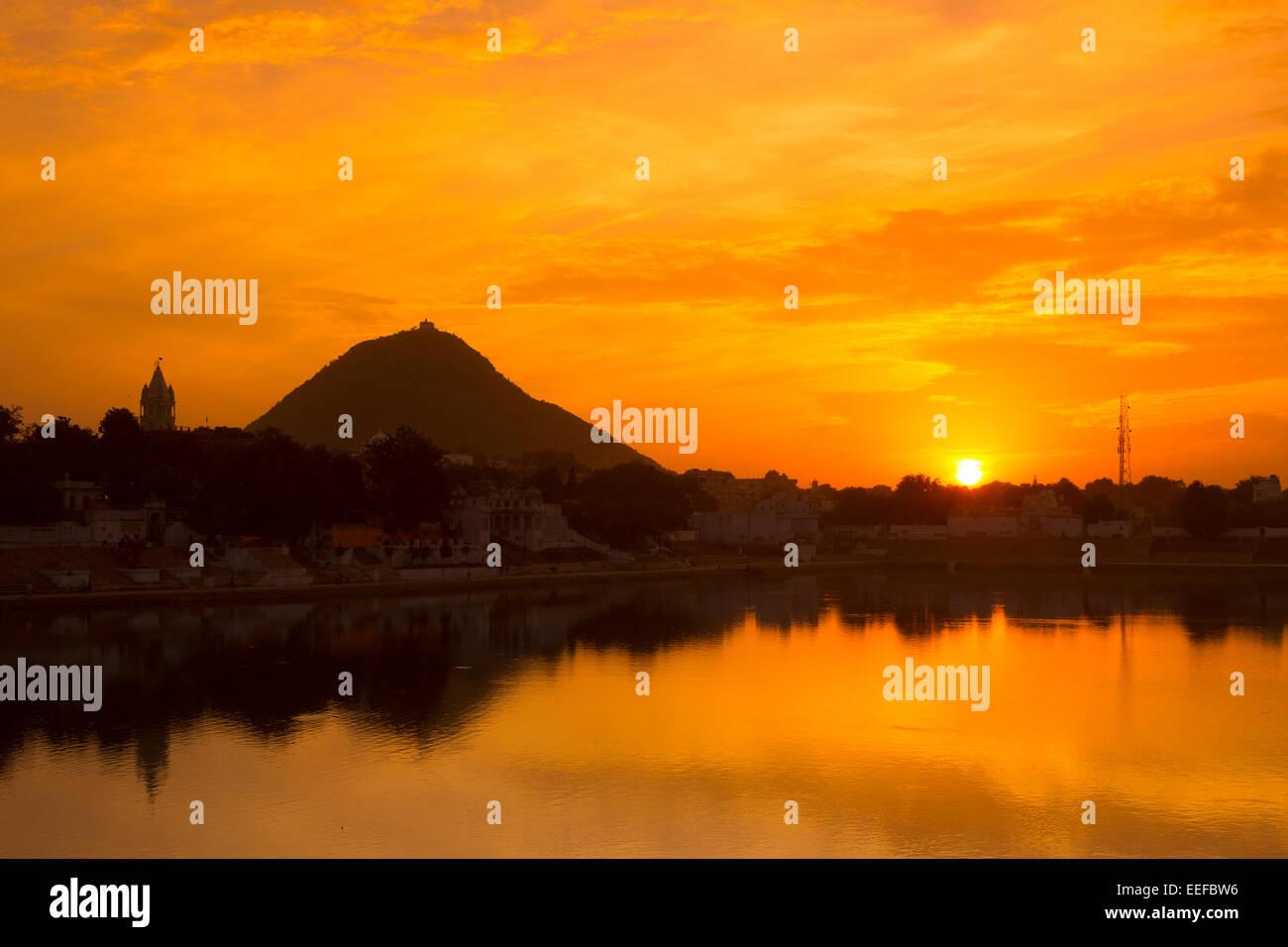 India, Rajasthan, Pushkar at sunset - Stock Image