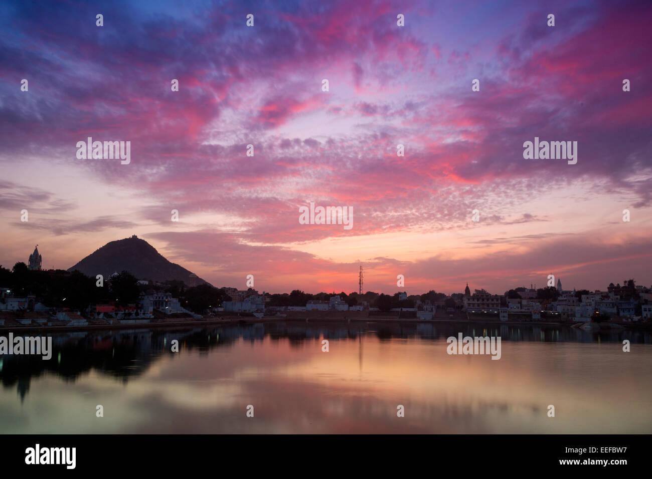 India, Rajasthan, Pushkar at twilight - Stock Image