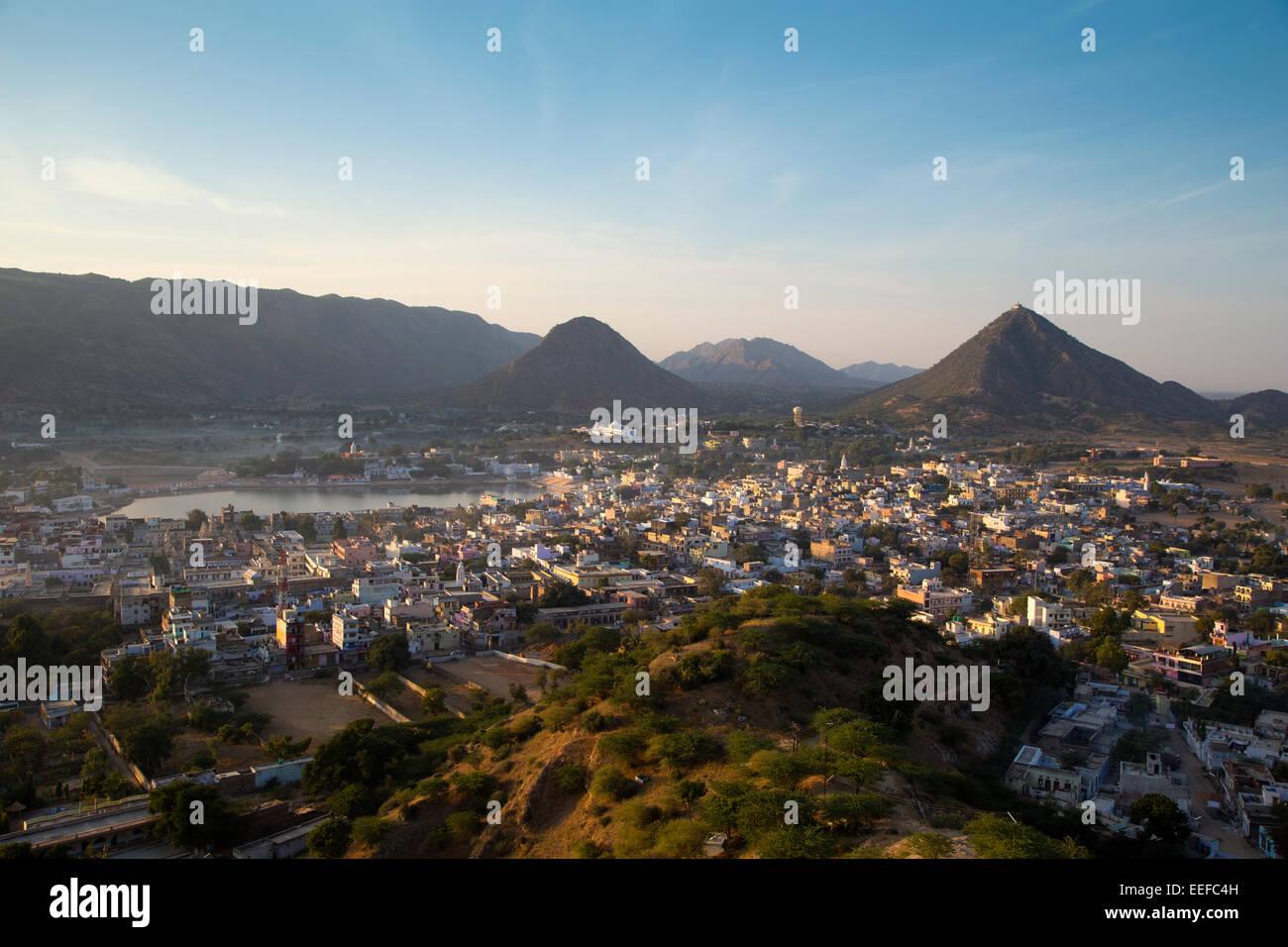 India, Rajasthan, Pushkar at dawn - Stock Image
