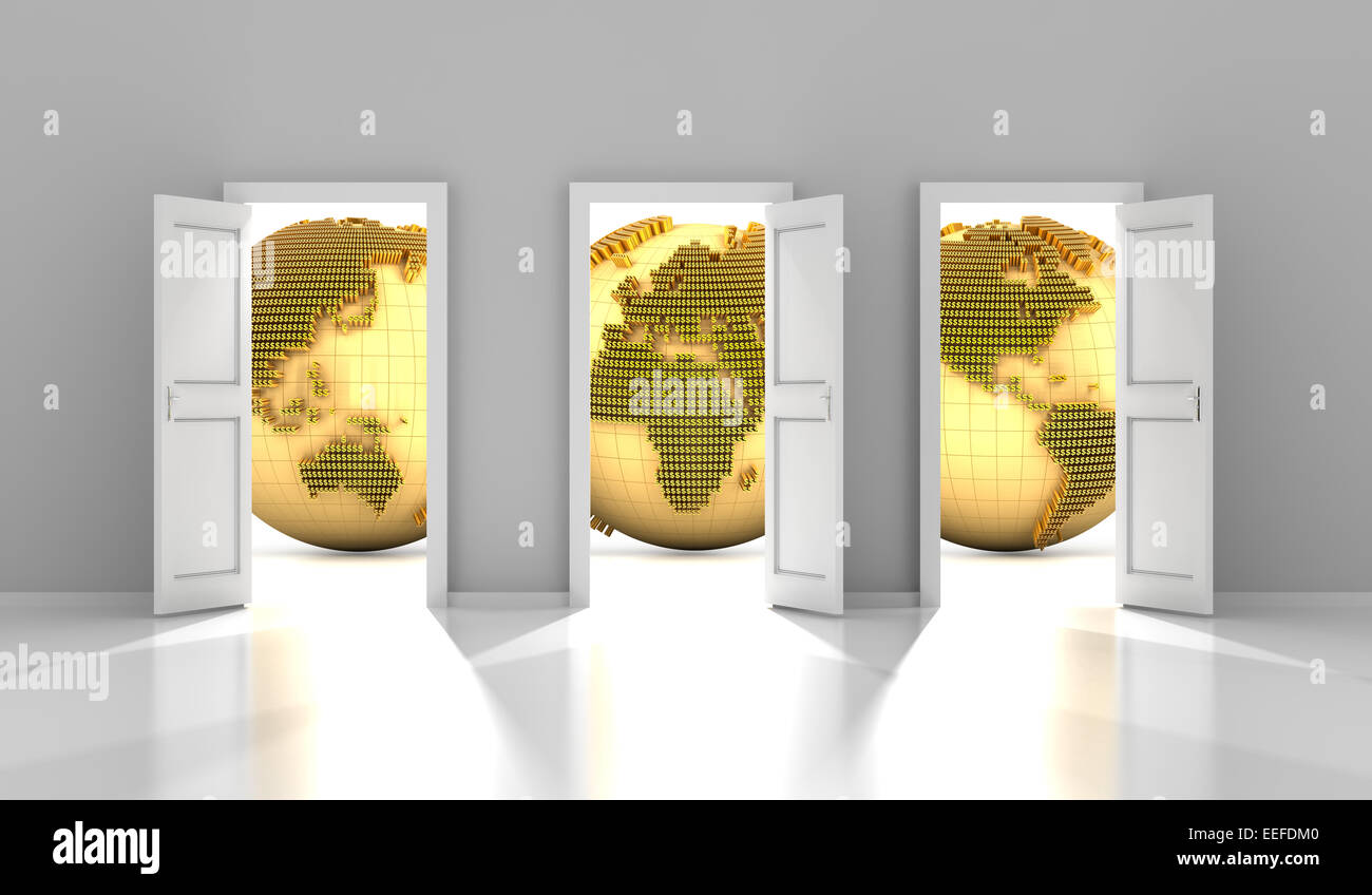 Doors to the global financial market, 3d render - Stock Image