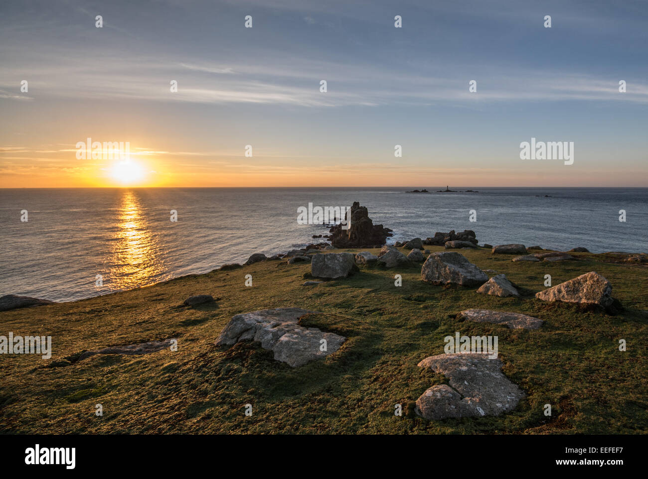 Sunset over lands end cornwall - Stock Image