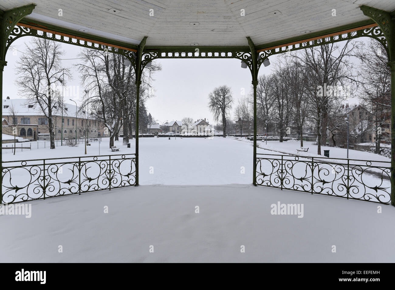 the bandstand in the snow - Stock Image