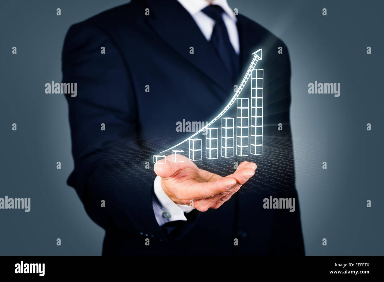 Businessman with a rising chart in wireframe mode - Stock Image