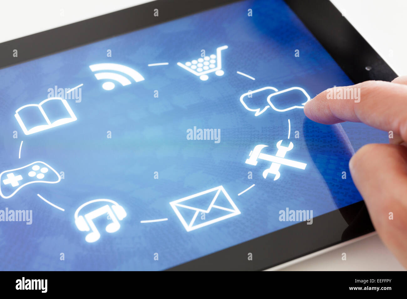Clicking on a tablet with touchscreen interface - Stock Image