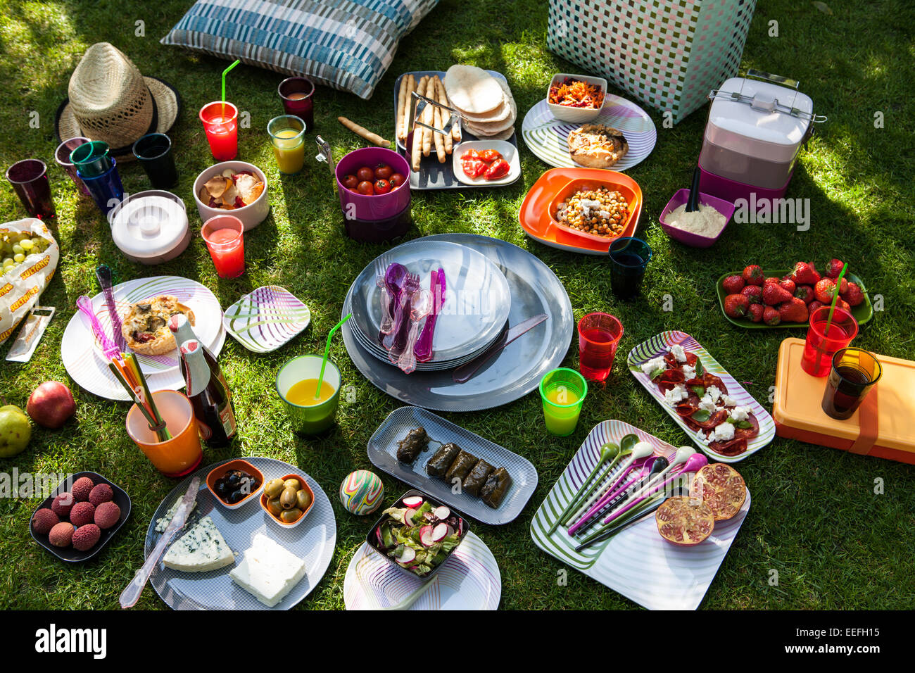 Outdoor picnic with plastic Habitat plates and cutlery. - Stock Image