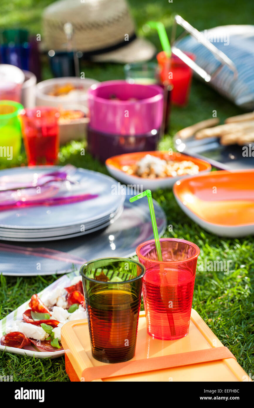 Outdoor picnic with plastic Habitat plates and cups . - Stock Image