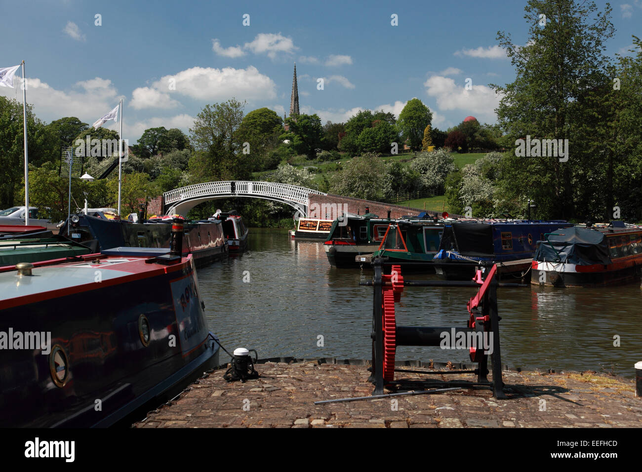 Braunston Marina looking towards the church and the Grand Union Canal - Stock Image