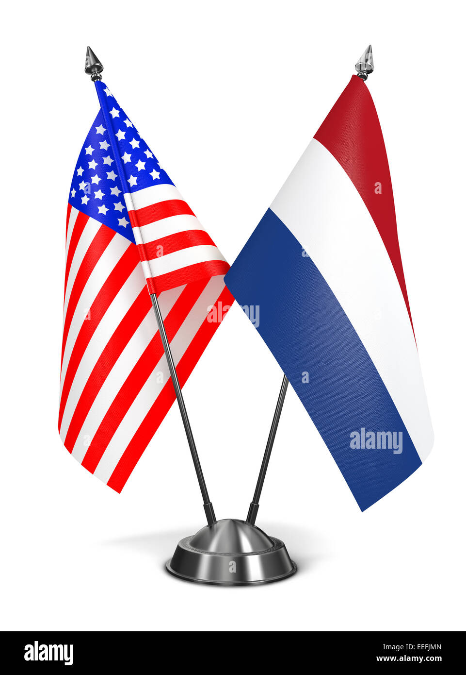 USA and Netherlands - Miniature Flags. Stock Photo