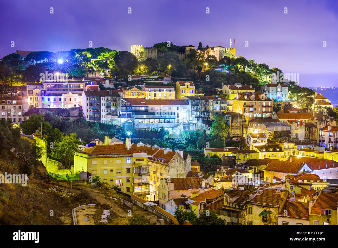 Lisbon, Portugal cityscape and hillside of Sao Jorge Castle. - Stock Image