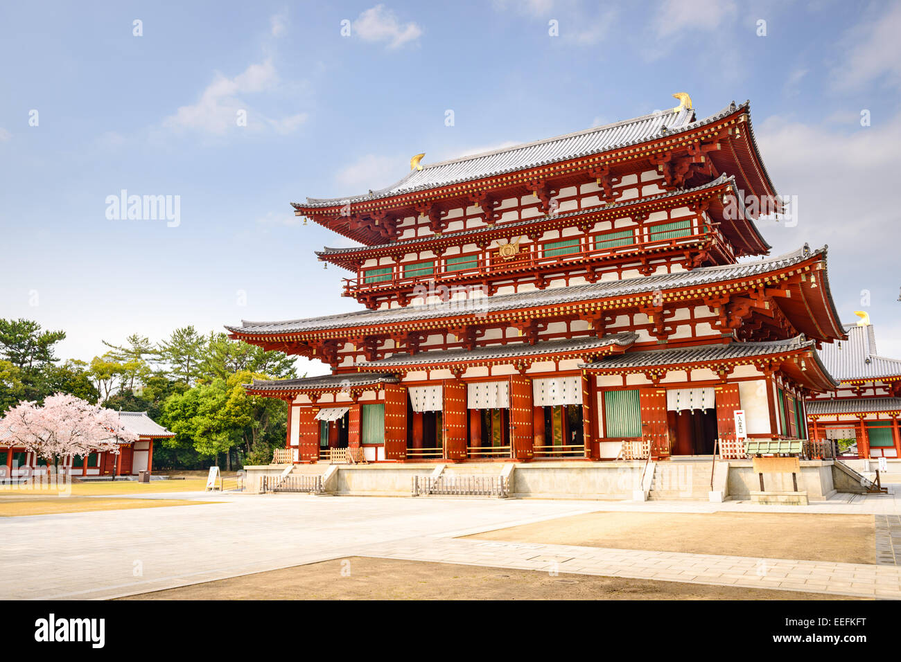 Nara, Japan at the Golden Hall of Yakushi-ji Temple with a hint of spring cherry blossoms. - Stock Image