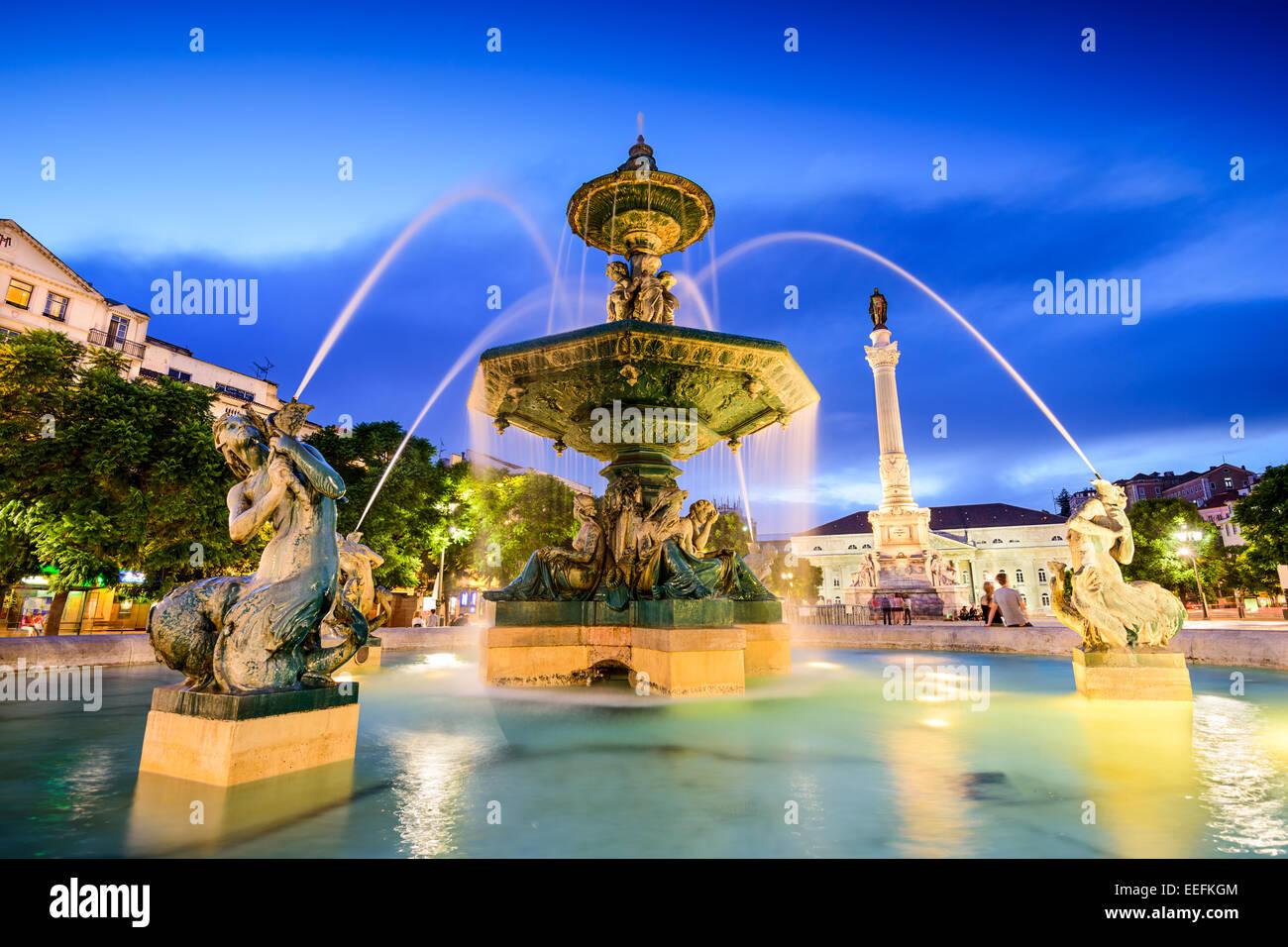 Rossio Square fountain in Lisbon, Portugal - Stock Image