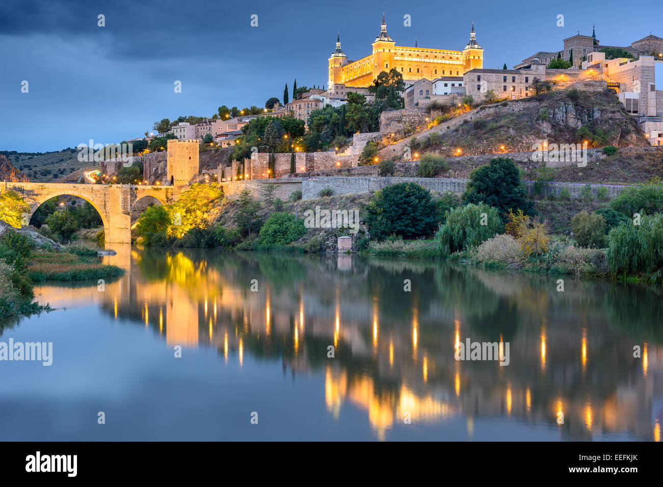 Toledo, Spain old town skyline at the Alcazar on the River. - Stock Image