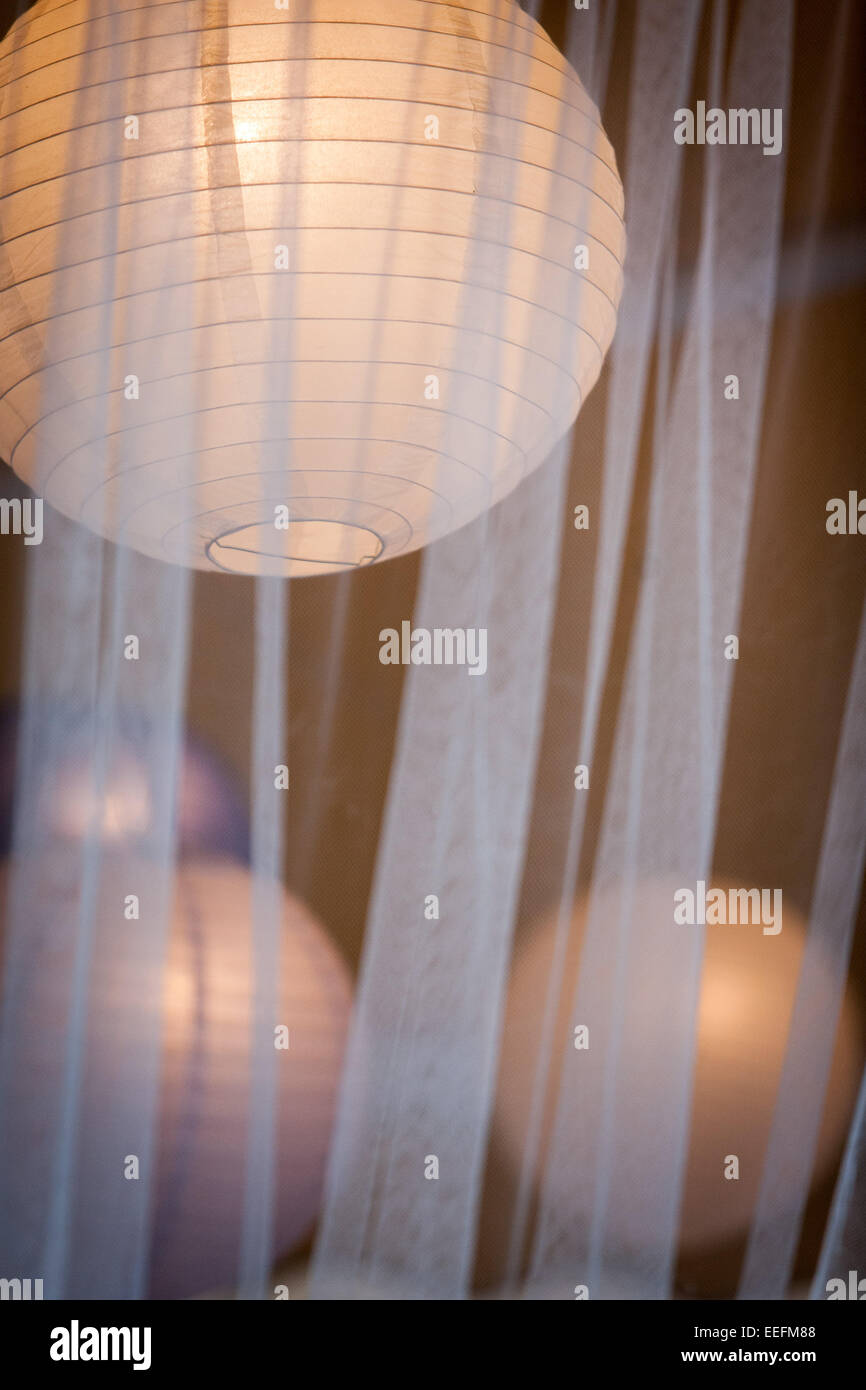 collection of round paper lights shades Stock Photo