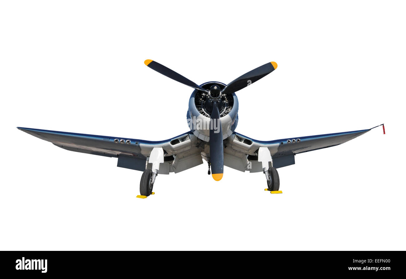 World War 2 era navy fighter front view isolated - Stock Image