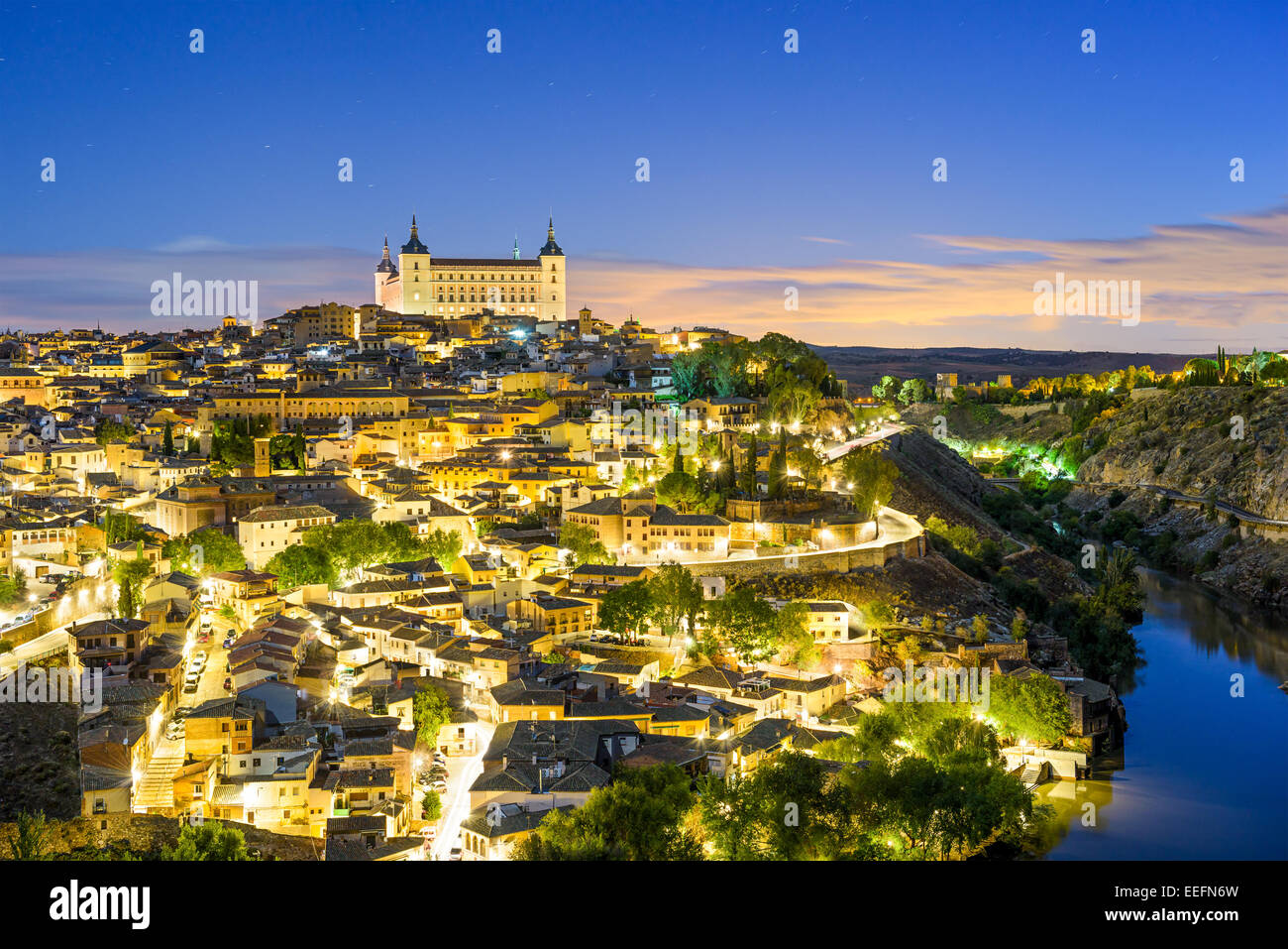 Toledo, Spain old town skyline at dawn. Stock Photo