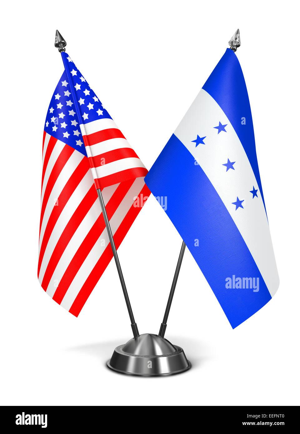 USA and Honduras - Miniature Flags. Stock Photo