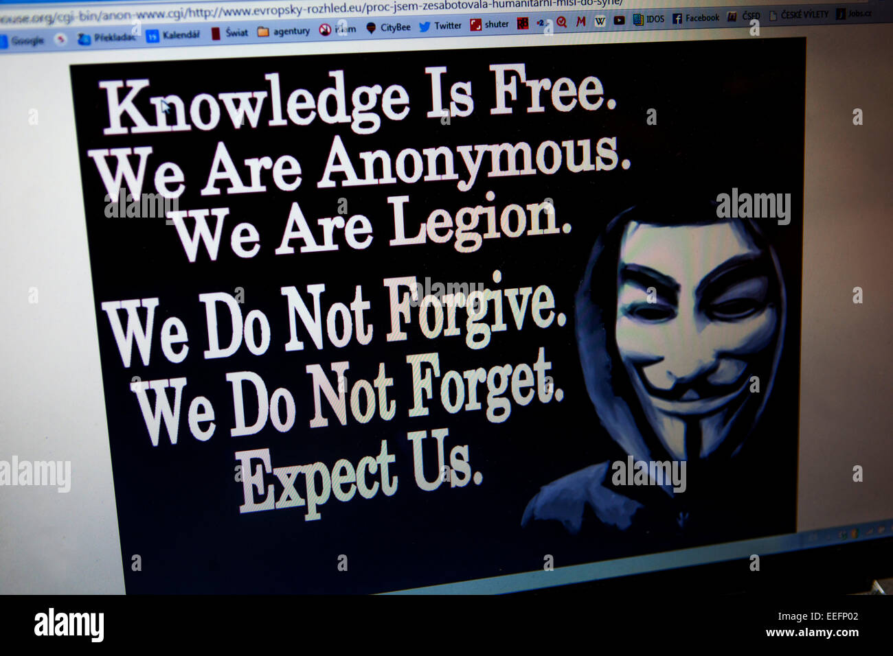 Message screen computer on a website hacked into by worldwide hacktivist group Anonymous hackers - Stock Image