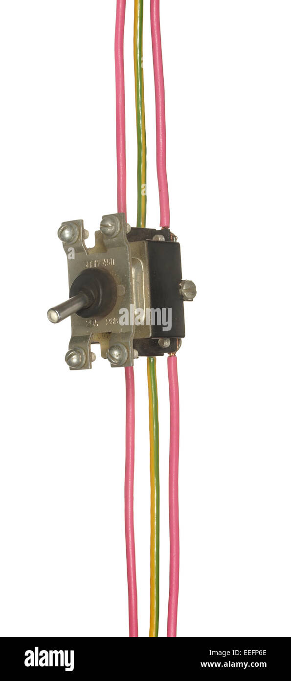 Industrial electrical switch with multi-colored wires isolated on ...