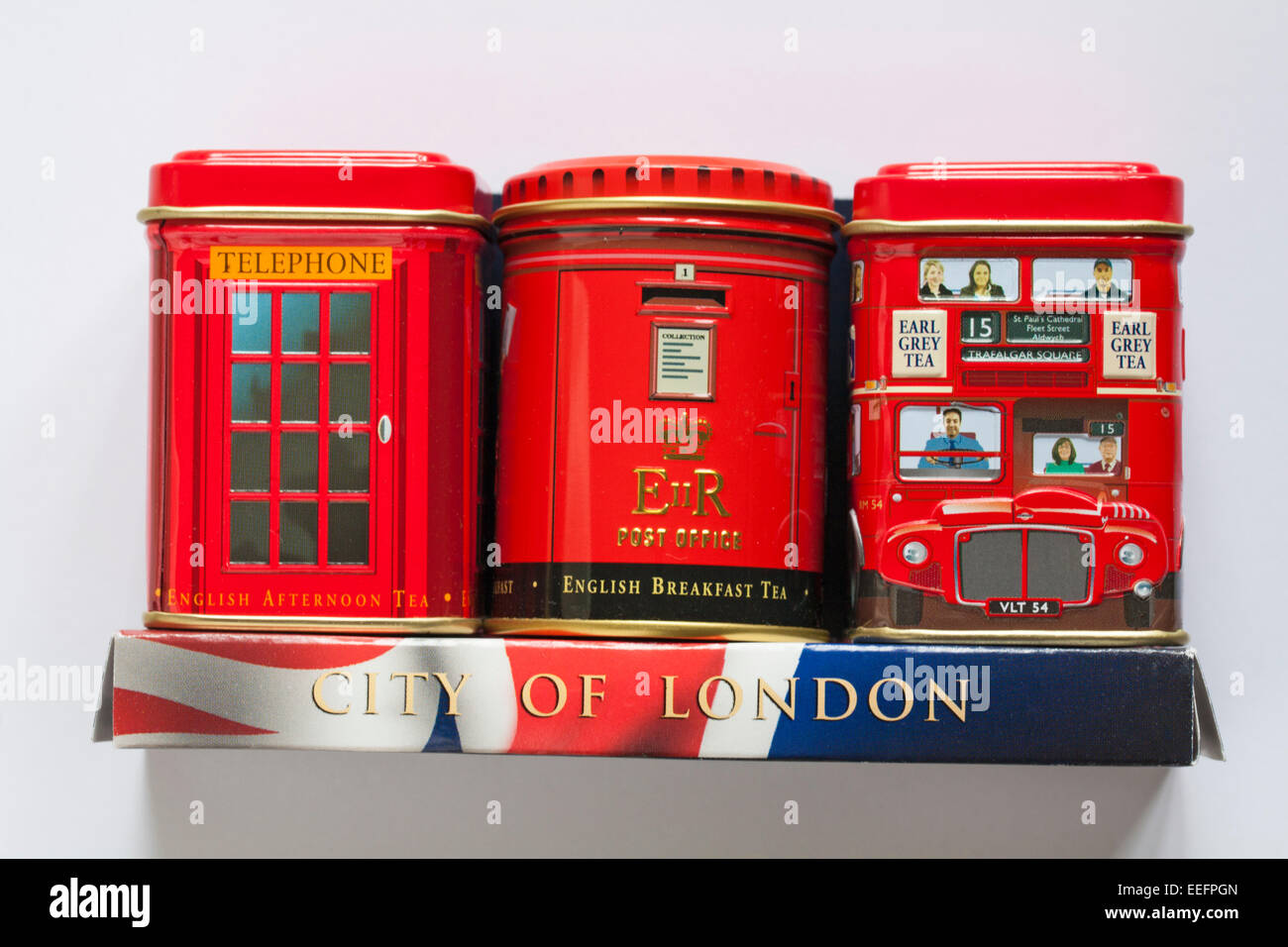 City of London tins of tea - red double decker bus, telephone box and post box isolated on white background Stock Photo