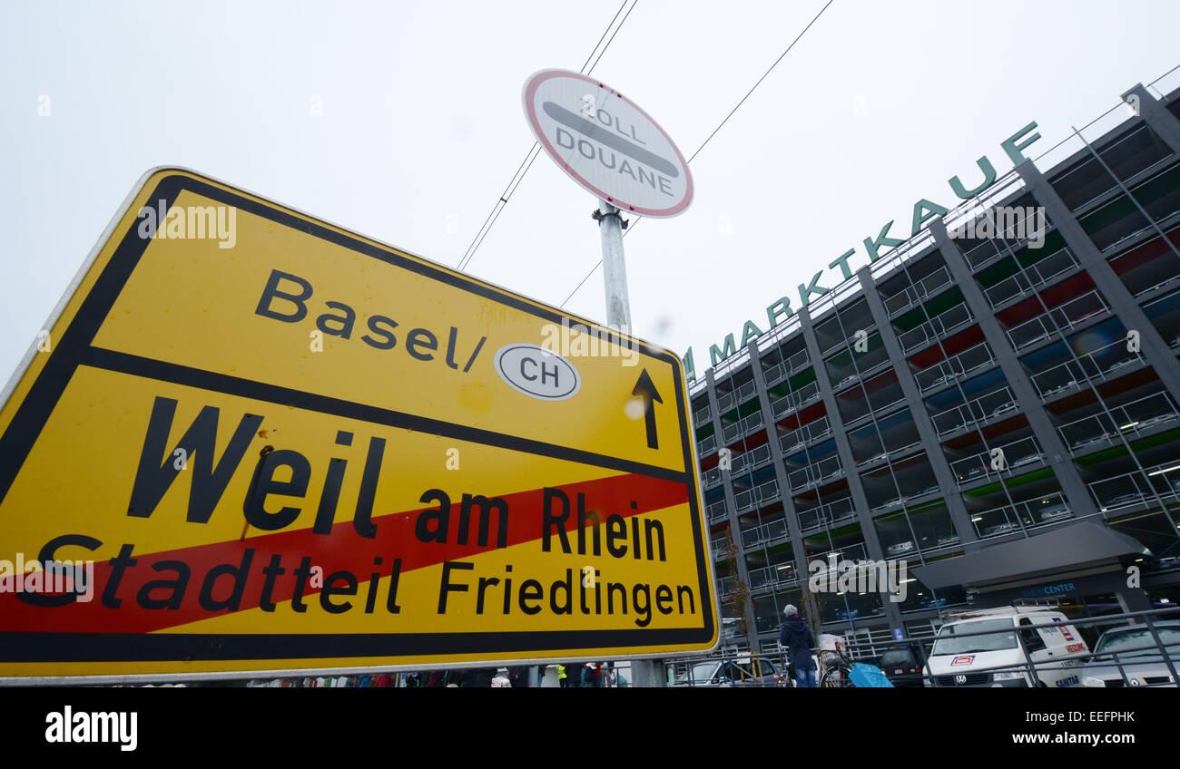 The Weil am Rhein town sign at the Rhein Center in Weil am Rhein ...