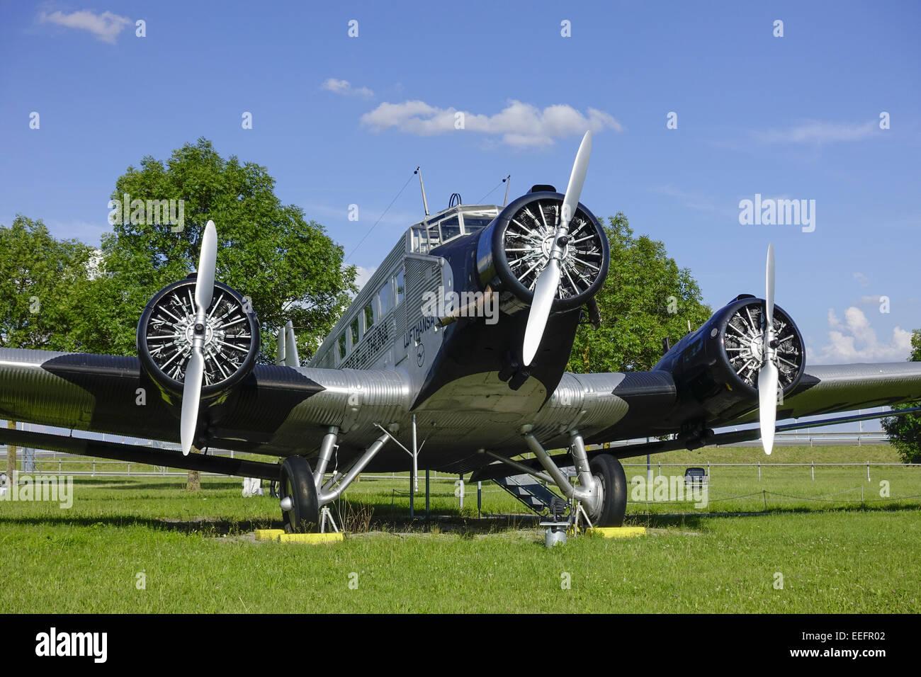 Historisches Flugzeug Junkers JU 52, BJ. 1937, Besucherpark Flughafen München II, München, Bayern, Deutschland, - Stock Image