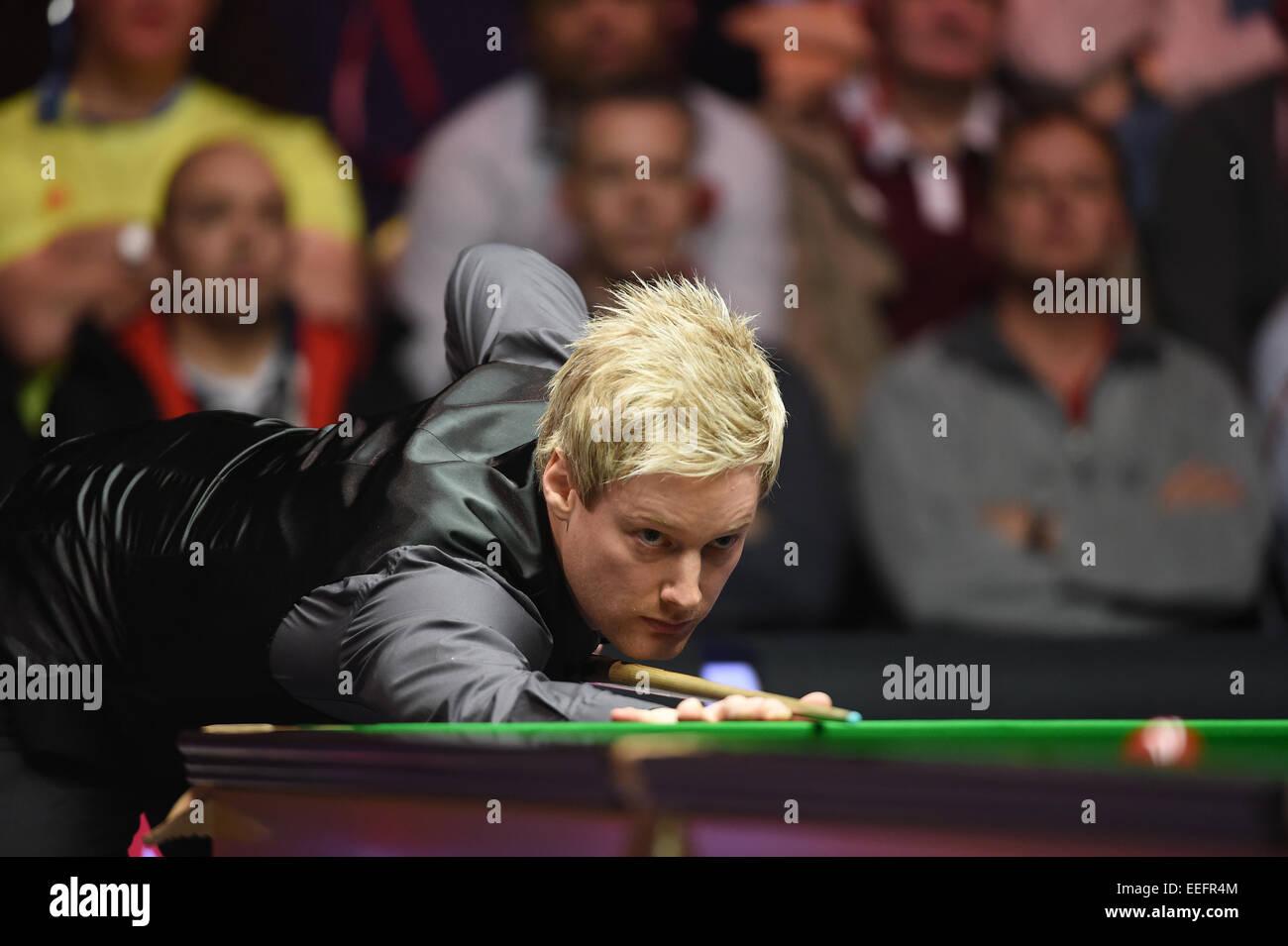 London, UK. 17th Jan, 2015. Masters Snooker Semi Final. Neil Robertson on top form. World number one Robertson beat Stock Photo