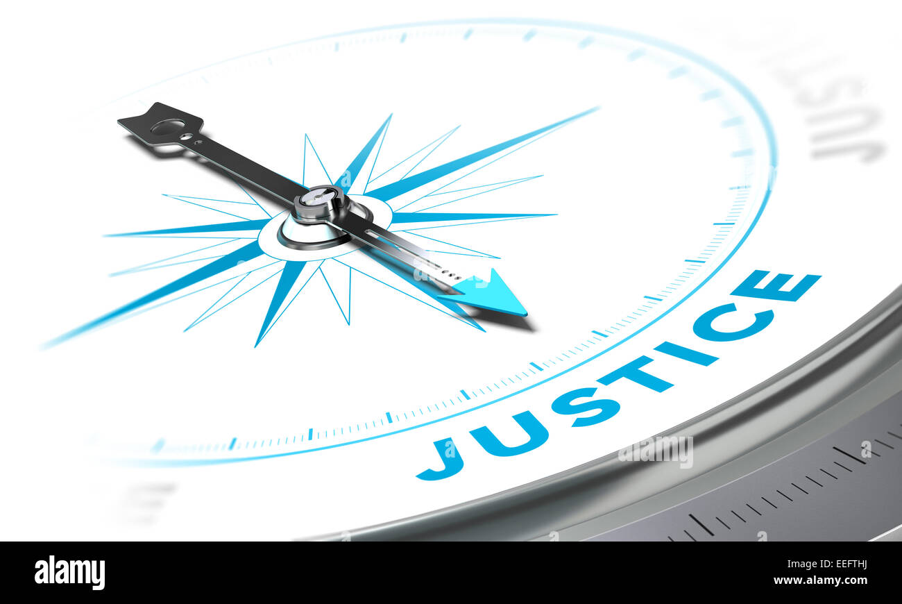 Compass with needle pointing the word justice, white and blue tones. Background image for illustration of law Stock Photo