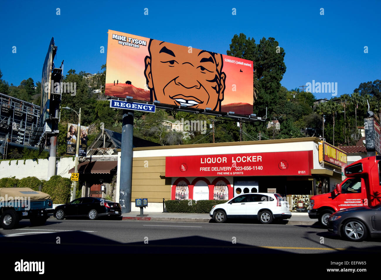 Mike Tyson billboard on the Sunset Strip - Stock Image