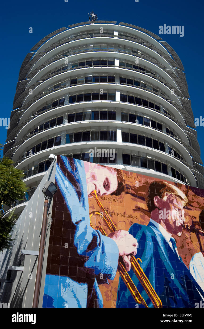 Capitol Records musicians mural outside building on Vine St. in Hollywood, California - Stock Image