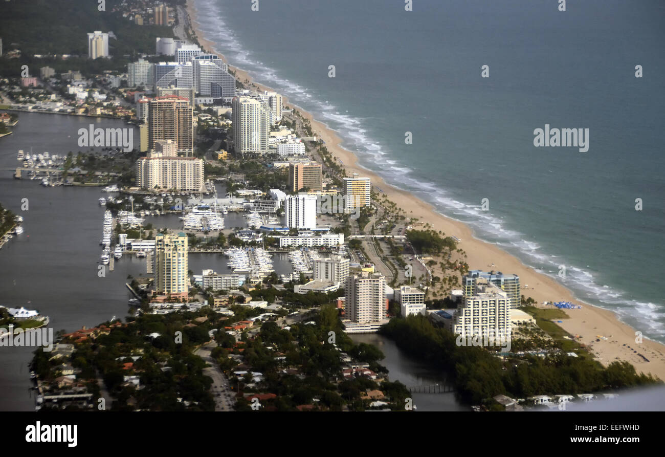 Coastline scenery from Fort Lauderdale, Florida aerial view Stock Photo