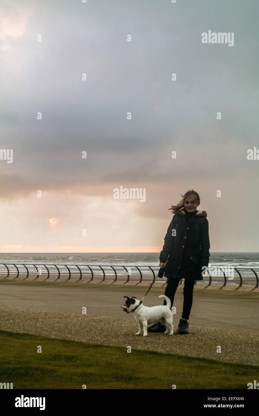 Blackpool, UK. 17th January 2015, Dramatic shower clouds loom large along the lancashire coastal town of Blackpool - Stock Image