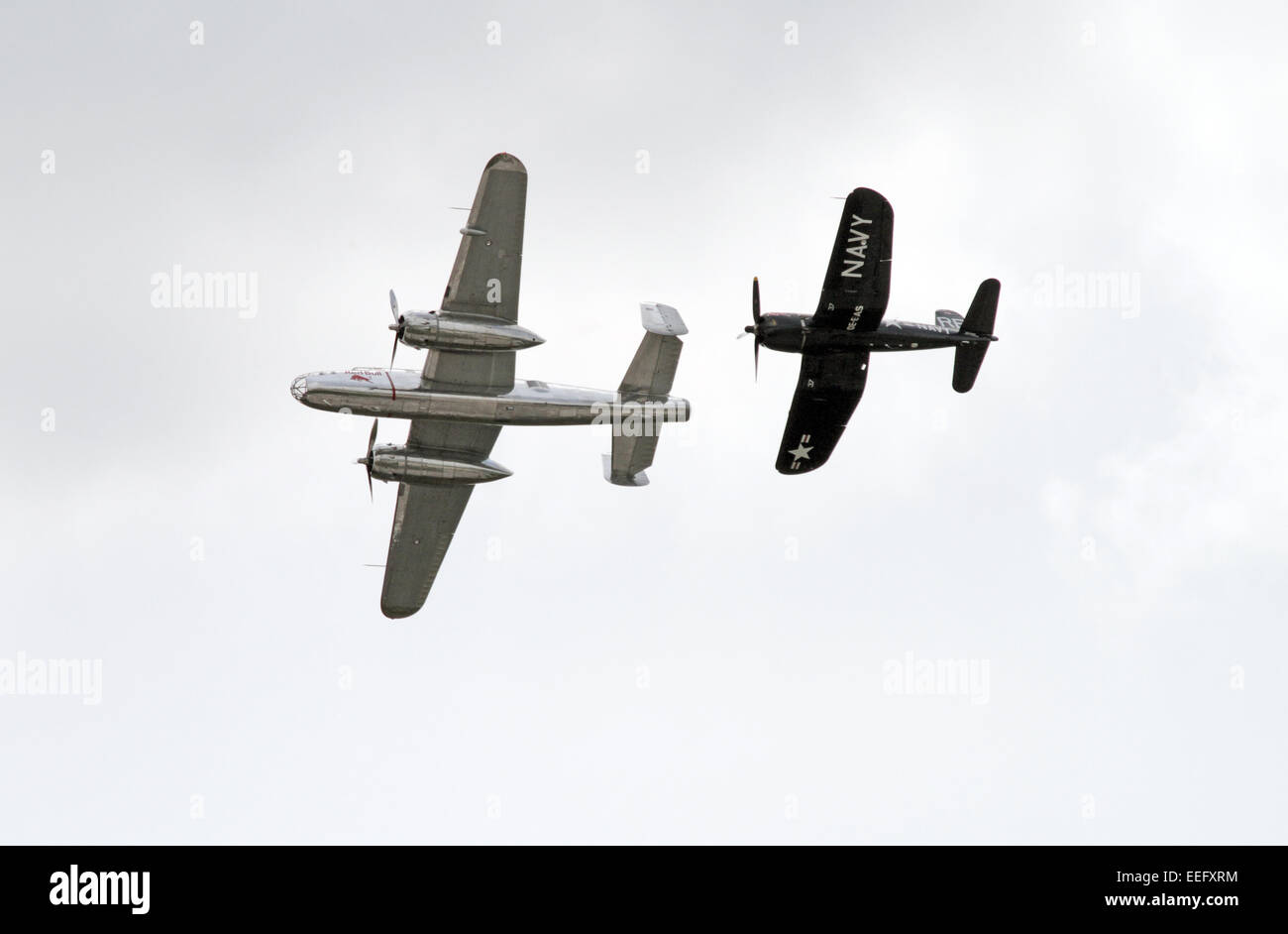 Schoenefeld, Germany, a North American B-25 Mitchell (left) and an F-Vought F4U Corsair Corsair Flying Bulls - Stock Image