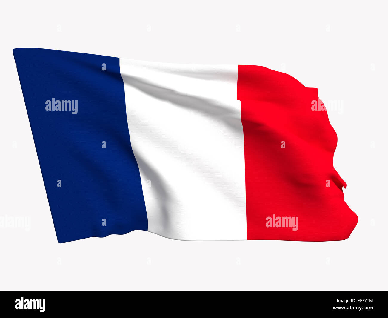 3d rendering of a france flag on a white background - Stock Image