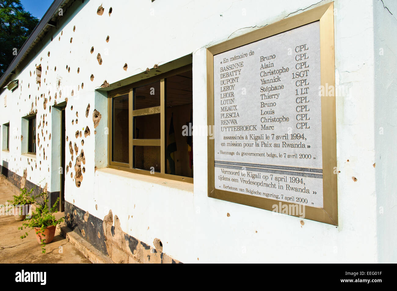 A plate  with the names of the ten Belgian UN soldiers , murdered in this barrack. Camp Kigali memorial. Kigali, - Stock Image