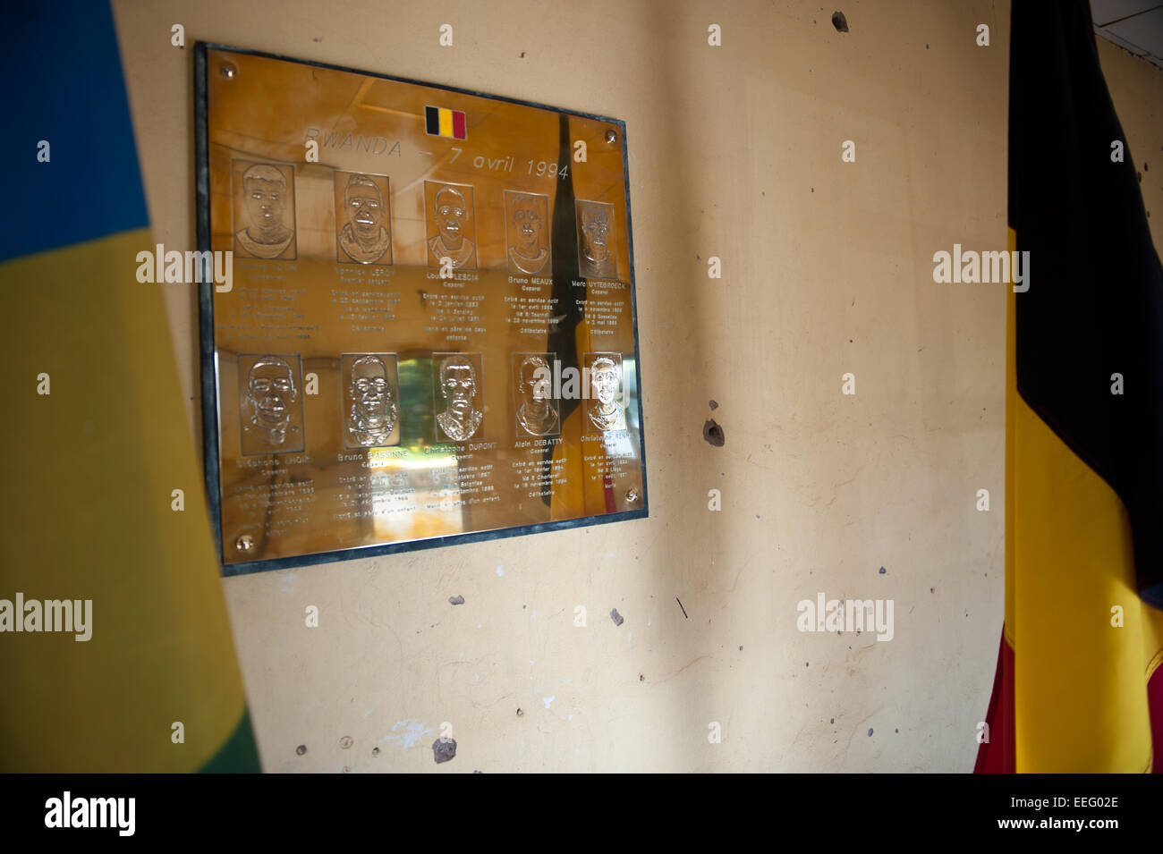 A plate  withe the names of the ten Belgian UN soldiers , murdered in this barrack. Camp Kigali Memorial. Kigali, Stock Photo