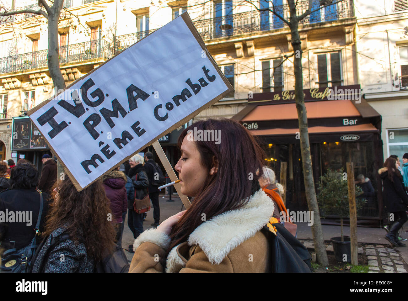 Paris, France, N.G.O.'s Groups, Feminist Demonstration in Honor of 40th Anniversary of Abortion Law Legalization, - Stock Image