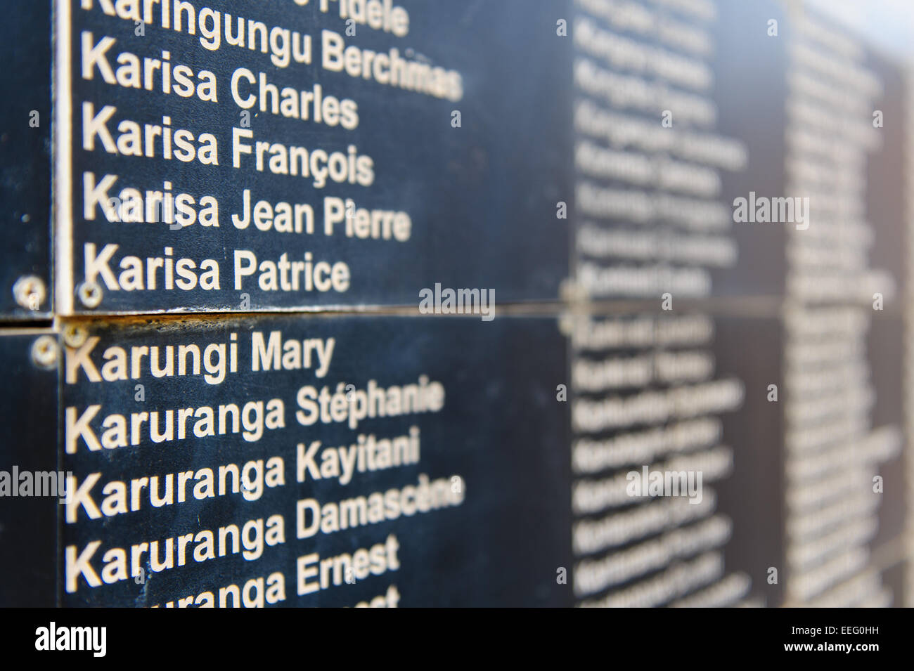 The names of the victims of the 1994 genocide in Rwanda. Kigali Genocide Memorial Centre. Kigali, Rwanda. - Stock Image