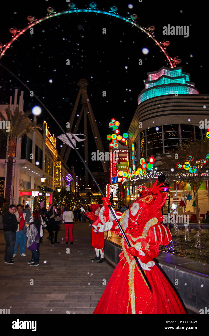 Christmas Show performer at the Linq Las Vegas with the High Roller for background Stock Photo