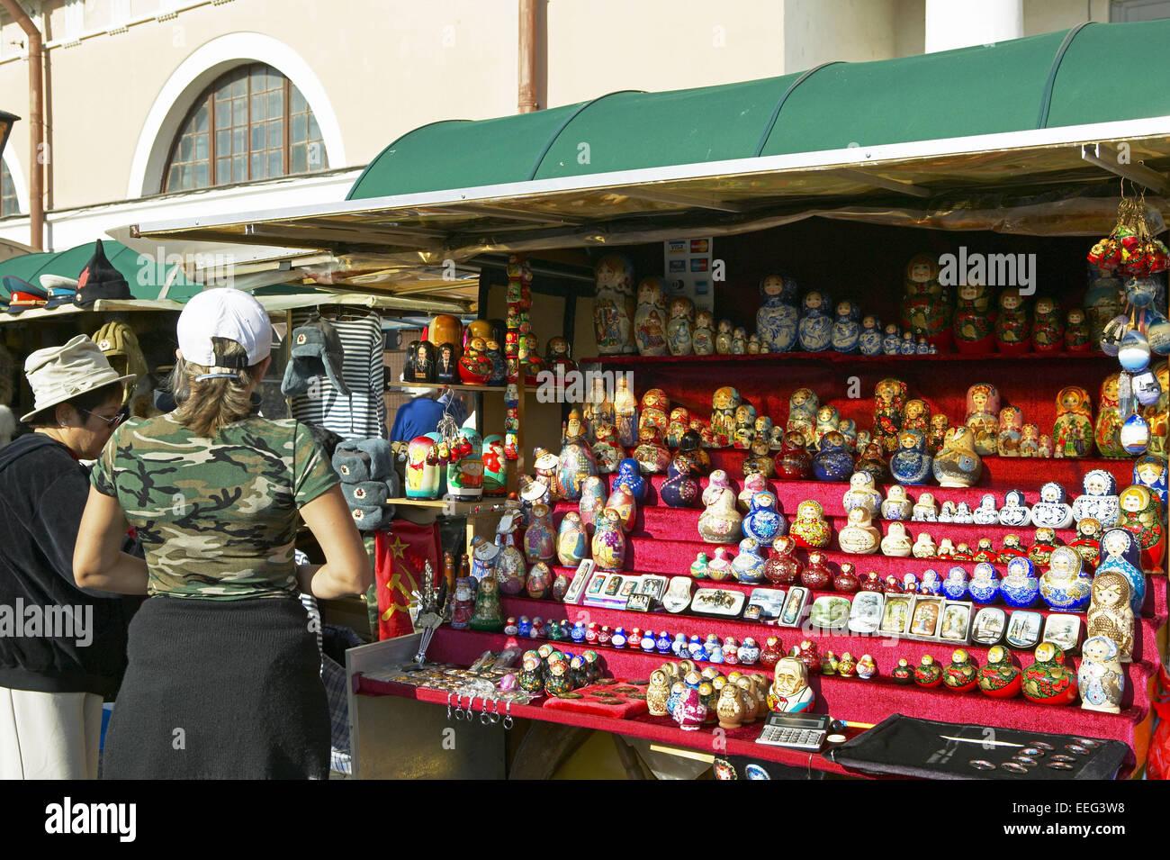 Russland St. Petersburg Souveniers Matrjoschka Puppen Sankt Peterburg Sehenswuerdigkeit Stadt Geographie Asien Gus Stock Photo