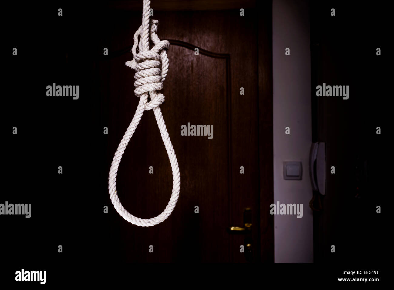 gallows in the dark house - Stock Image