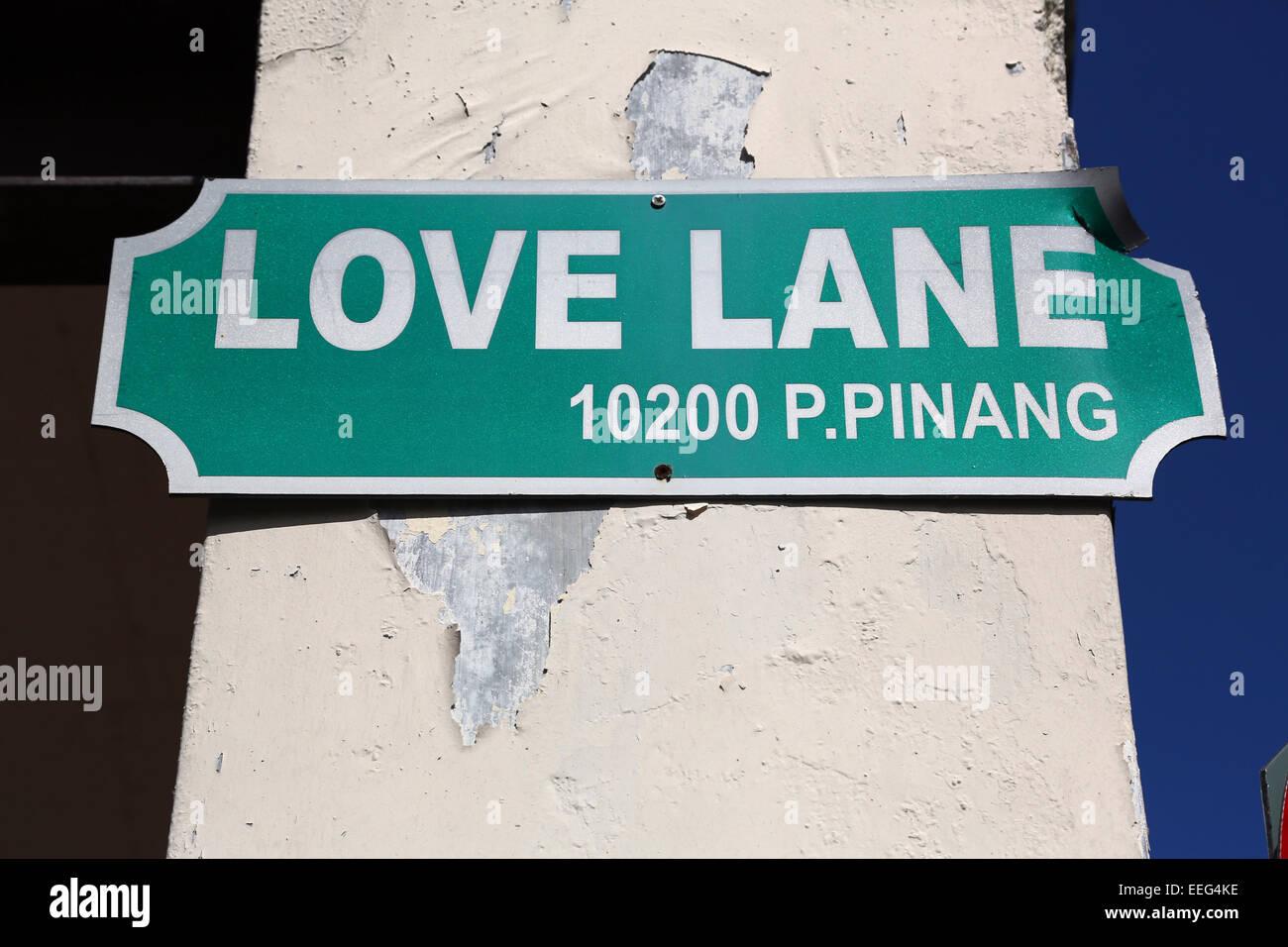 Love Lane Street Sign, Georgetown, Penang, Malaysia - Stock Image