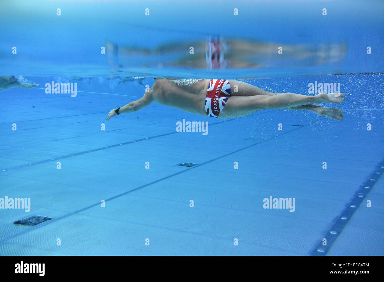 London, UK, 17th January, 2015.  Swimming humour: men's tight shorts also known as budgy smugglers. Credit: - Stock Image