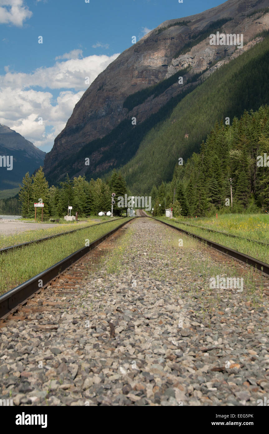 Close up of the Canadian Pacific Railway track, Field, Yoho National Park - Stock Image