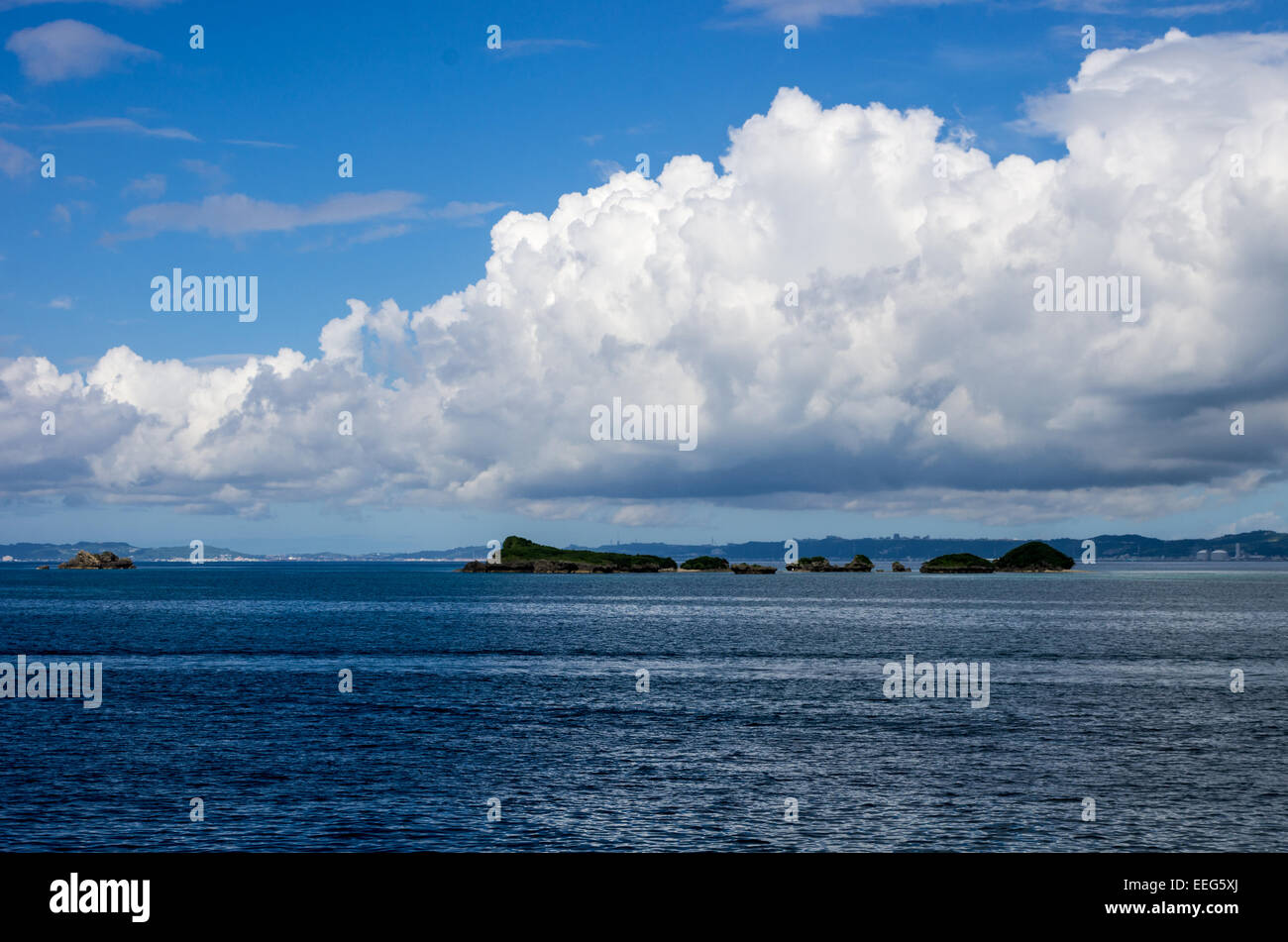 A view of Okinawa Island from the ferry to Tsuken Island. - Stock Image