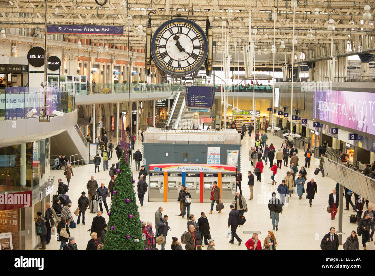Waterloo Station in London. This is a central London railway terminus and underground station. - Stock Image