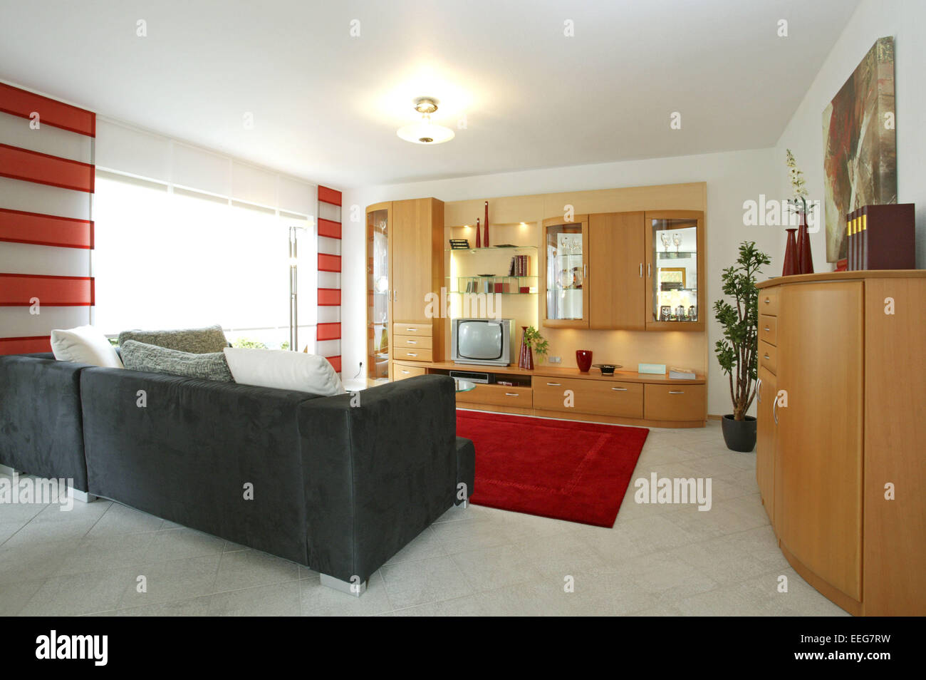 Wohnzimmer Wohnen Innenaufnahme Inneneinrichtung Wohnung Wohnraum  Einrichtung Moebel Mobiliar Modern Interieur Schrank Couch Sof