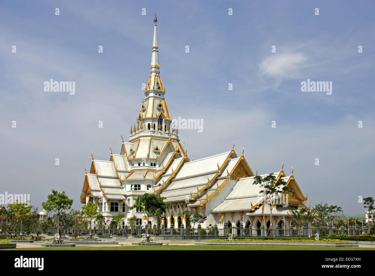 Tempel Wat in Chachoengsao nahe Bangkok Thailand Siam, Architektur asiatisch Asien Baukunst Bauwerk Buddha Buddhismus - Stock Image